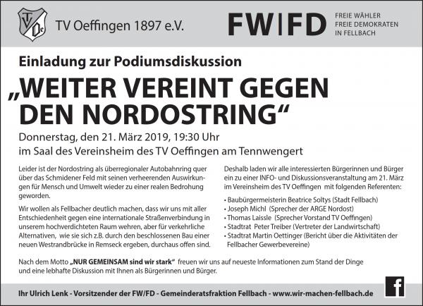 Podiumsdiskussion zum Nordostring @ Vereinsheim TV Oeffingen